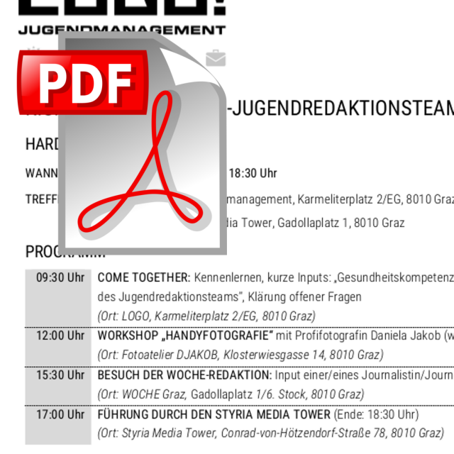 Kick-Off Jugendredaktion XUND und DU | LOGO jugendmanagement